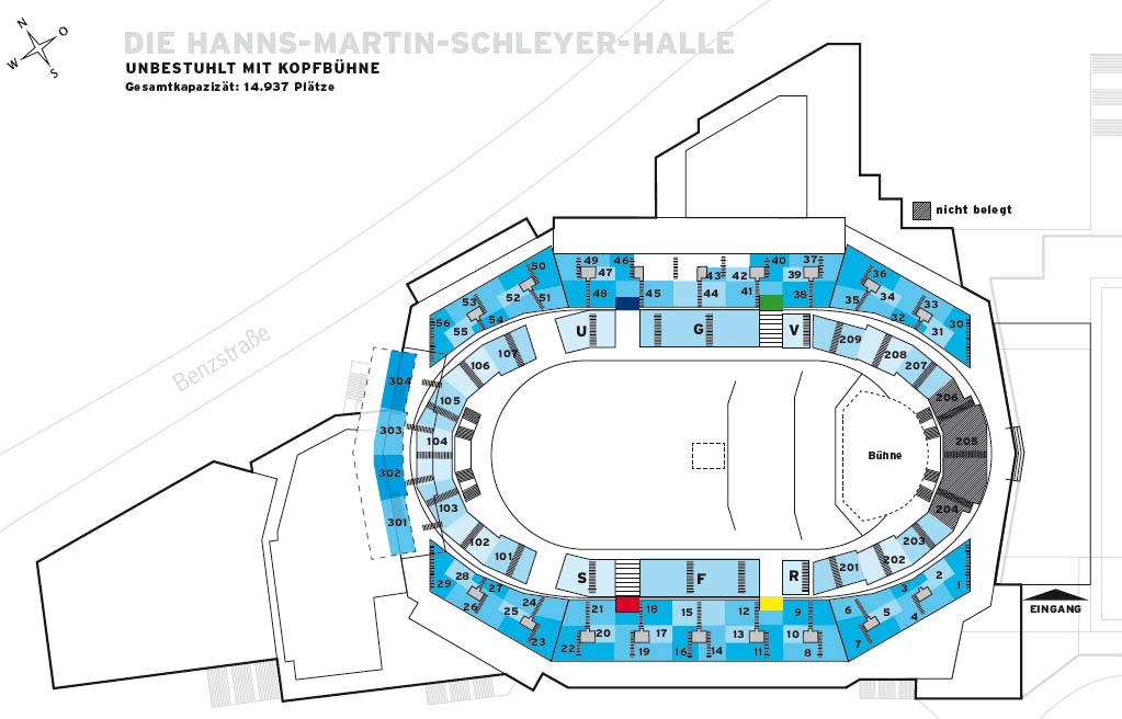 Sitzplan, Saalplan der Hanns-Martin-Schleyer-Halle in